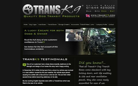 Screenshot of Testimonials Page transk9.com - Car Cages,Dog Guards,Dog Transport,TransK9, Trans K9 - captured Oct. 7, 2014