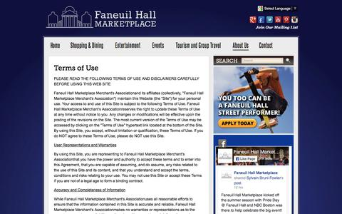 Screenshot of Terms Page faneuilhallmarketplace.com - Terms of Use :: Faneuil Hall Marketplace - captured June 5, 2017