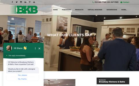 Screenshot of Testimonials Page broadwaykitchens.com - Testimonials - captured Oct. 6, 2018