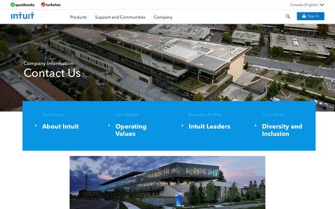 Screenshot of Contact Page intuit.com - Intuit®: Company | Contact Us - captured Aug. 12, 2018