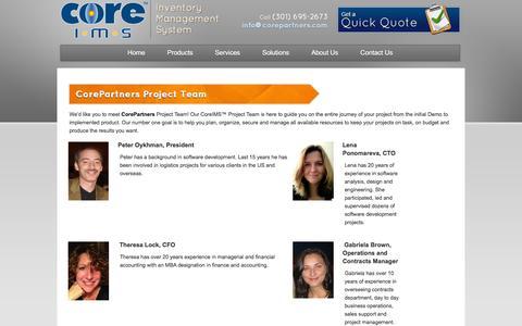 Screenshot of Team Page coreims.com - Meet CorePartners Project Team - CoreIMS™ - captured Oct. 10, 2014