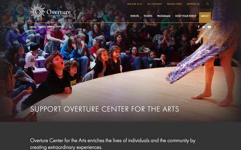 Screenshot of Support Page overturecenter.org - About | Overture Center - captured Oct. 10, 2014