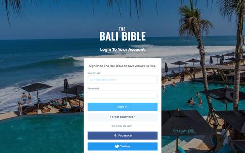 Screenshot of Login Page thebalibible.com - Login | The Bali Bible - captured Nov. 21, 2017