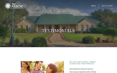 Screenshot of Testimonials Page thearbor.com - Addiction Treatment Testimonials   The Arbor Behavioral Healthcare - captured July 20, 2019