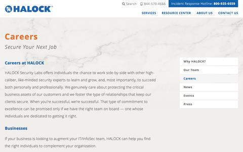 Screenshot of Jobs Page halock.com - Careers - HALOCK - captured June 14, 2018