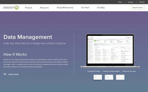 Screenshot of Products Page sessionm.com - Product - Data Management - SessionM - captured Oct. 9, 2017