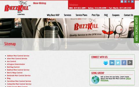 Screenshot of Site Map Page buzzkillpestcontrol.com - Sitemap - Buzzkill Pest Control - captured Nov. 13, 2018