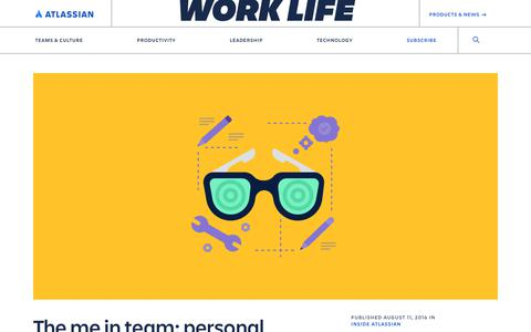 Screenshot of Blog atlassian.com - The me in team: personal productivity tips to boost your team game - Work Life by Atlassian - captured Feb. 8, 2020
