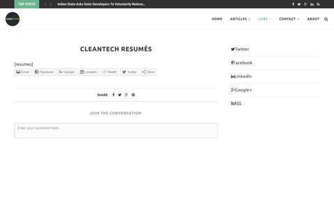 Cleantech Resumés – CleanTechies