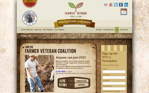 Screenshot of Signup Page farmvetco.org - Veteran Employment & Outreach for Military Transition | FARMER VETERAN COALITION - captured Oct. 5, 2014