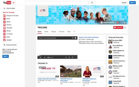 Screenshot of YouTube Page youtube.com - TRICARE  - YouTube - captured Oct. 25, 2014