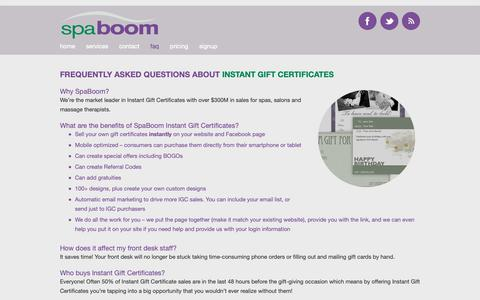 Screenshot of FAQ Page spaboom.com - Frequently Asked Questions | SpaBoom - captured Sept. 30, 2018