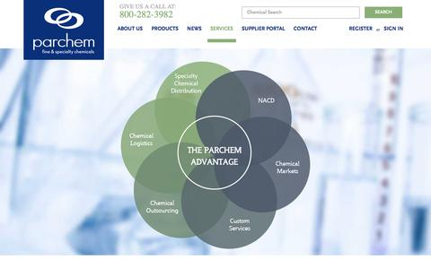 Screenshot of Services Page parchem.com - specialty chemical companies - specialty chemicals company - specialty chemicals distributors - specialty chemical suppliers - captured Jan. 25, 2016