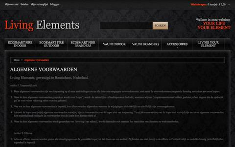 Screenshot of Support Page living-elements.nl - Algemene voorwaarden Living Elements - captured Sept. 30, 2014