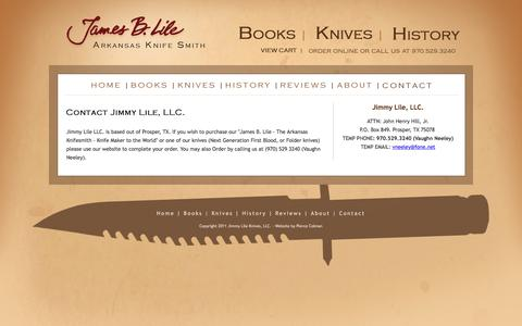 Screenshot of Contact Page Support Page jimmylile.com - Jimmy Lile Knives: Contact Information - captured May 20, 2016