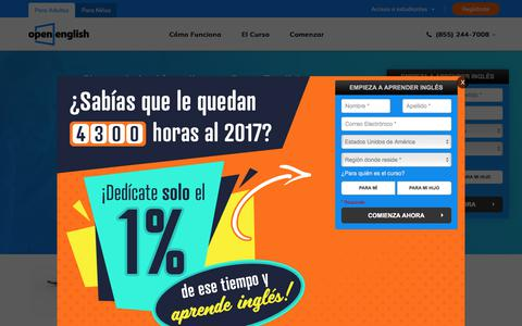 Screenshot of Home Page openenglish.com - Ingles Online - Clases de Ingles Online   Open English - captured Aug. 13, 2017