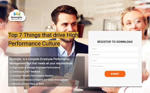 Screenshot of Landing Page synergita.com - Top 7 things that drive High Performance Culture - captured Feb. 26, 2017