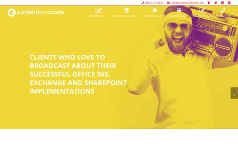 Screenshot of Case Studies Page contentandcode.com - Our Work | Content and Code - captured Aug. 27, 2017