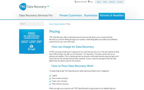 Screenshot of Pricing Page trcdatarecovery.com - Data recovery partner pricing - captured Oct. 20, 2018