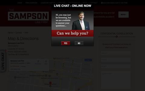 Screenshot of Maps & Directions Page jeffsampsonlaw.com - Map & Directions, Louisville Law Office | Sampson Law Firm - captured Sept. 29, 2017