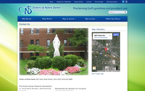 Screenshot of Contact Page toledosnd.org - Contact Us | Sisters of Notre Dame Toledo Province - captured Oct. 7, 2014