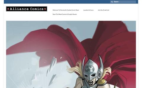 Screenshot of Home Page alliancecomicsonline.com - Welcome To Maryland's Coolest Comic Shop! | Alliance Comics Online - captured Oct. 4, 2014
