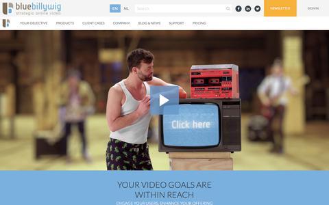 Screenshot of Home Page bluebillywig.com - Video Platform for Business - captured June 28, 2019