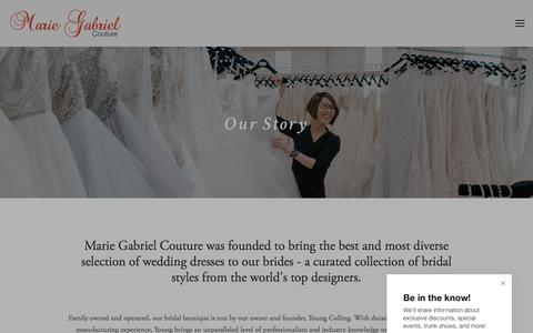 Screenshot of About Page mariegabrielcouture.com - Our Story — Indianapolis, IN Bridal Store & Wedding Dresses | Marie Gabriel Couture - captured July 26, 2018