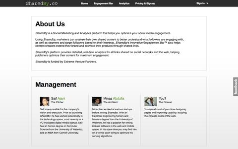 Screenshot of About Page sharedby.co - SharedBy Engagement Bar & Social Analytics - captured Sept. 13, 2014