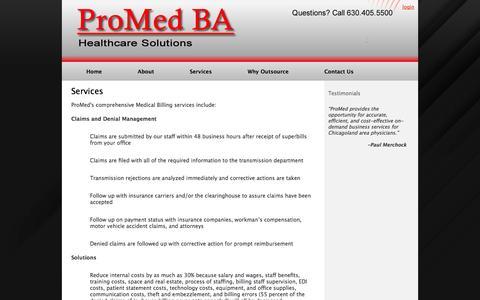 Screenshot of Services Page promedba.com - .: PromedBA-Medical Billing & EMR/EHR Services :. - captured Oct. 3, 2014