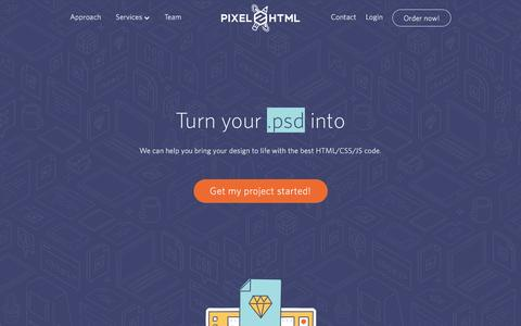 Screenshot of Home Page pixel2html.com - Pixel2HTML — The FrontEnd Development Company - captured July 13, 2016
