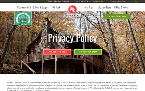 Screenshot of Privacy Page buffaloriver.com - Privacy Policy    Buffalo National River Cabins and Canoeing in         Beautiful Ponca, Arkansas - captured Oct. 7, 2018