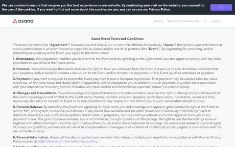 Screenshot of Terms Page asana.com - Asana Events Terms and Conditions | Attend Asana events - captured Aug. 28, 2019