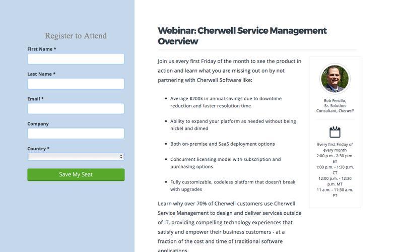 Webinar | Cherwell Service Management Overview