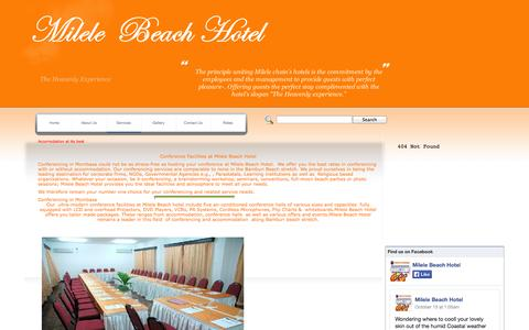 Screenshot of Services Page milelebeach.com - Services offered at Milele Beach Hotel along the North Coast of Mombasa - captured Nov. 4, 2014