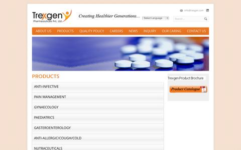 Screenshot of Products Page trexgen.com - Products - Trexgen Pharmaceuticals Pvt. Ltd. - captured Oct. 7, 2014