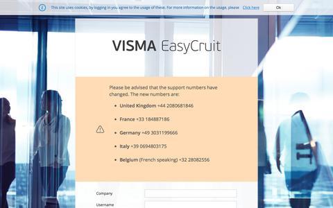 Screenshot of Home Page easycruit.com - Visma - EasyCruit, Talent On Demand - captured June 20, 2017