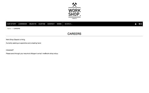 Screenshot of Jobs Page work-shop.net.au - CAREERS | WORK SHOP OBJECTS - captured Nov. 5, 2014