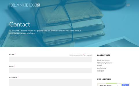 Screenshot of Contact Page blankboxdesign.com - Contact - - captured June 1, 2017