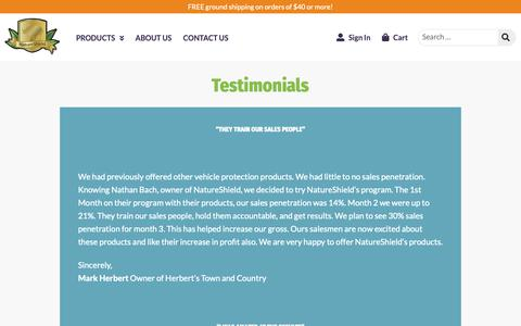 Screenshot of Testimonials Page natureshield.com - Testimonials - NatureShield - captured Nov. 7, 2018