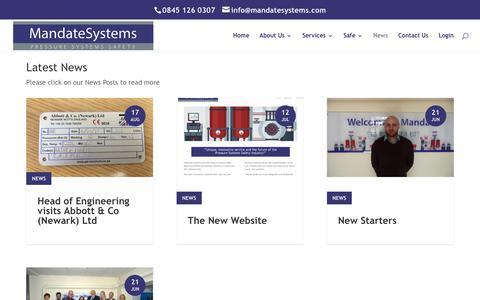 Screenshot of Press Page mandatesystems.com - News - Mandate Systems - captured Oct. 5, 2017