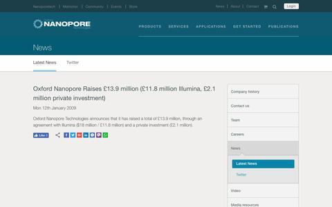 Oxford Nanopore Raises £13.9 million (£11.8 million Illumina, £2.1 million private investment)