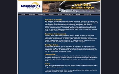 Screenshot of Terms Page engineeringserviceslp.com - Legal Notices Engineering Services, LP., Global Engineering Experts - captured July 14, 2016
