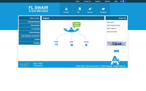 Screenshot of Support Page flswair.com - FL SWAIR Branding :: Website design Chennai, Website Redesign Chennai, Web designing company Chennai, SEO Chennai, Search Engine Optimization Chennai - captured Oct. 6, 2014