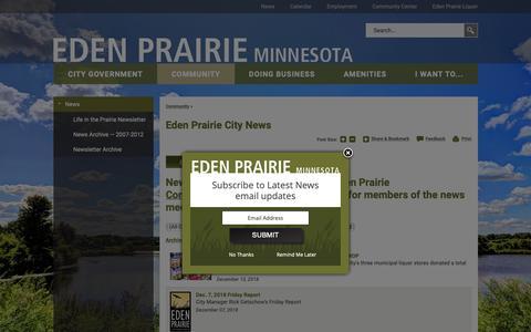 Screenshot of Press Page edenprairie.org - Eden Prairie City News | City of Eden Prairie - captured Dec. 12, 2018