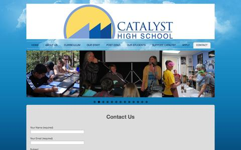 Screenshot of Contact Page catalysths.org - CONTACT | Catalyst High School of Colorado - captured Oct. 2, 2014