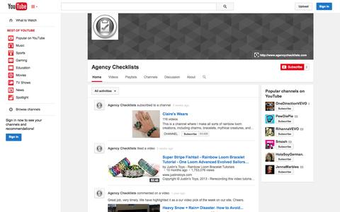 Screenshot of YouTube Page youtube.com - Agency Checklists  - YouTube - captured Oct. 23, 2014
