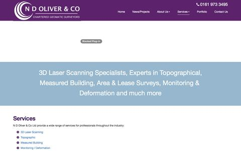 Screenshot of Services Page ndoliver.com - N D Oliver - Chartered Land Surveyors & Geomaticians, Manchester UK - Site Services - captured Nov. 18, 2016