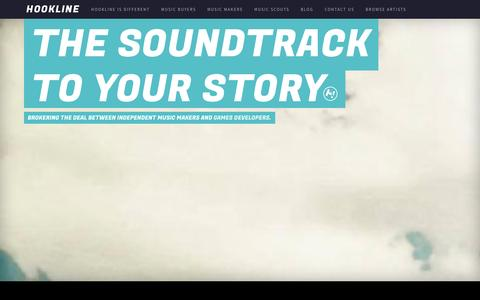 Screenshot of Home Page Contact Page hookline.tv - Hookline - the soundtrack to your story - captured Oct. 3, 2014