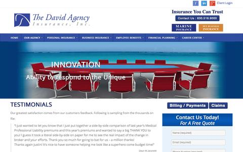 Screenshot of Testimonials Page thedavidagency.com - Testimonials - The David Agency - The David Agency - captured Nov. 4, 2014